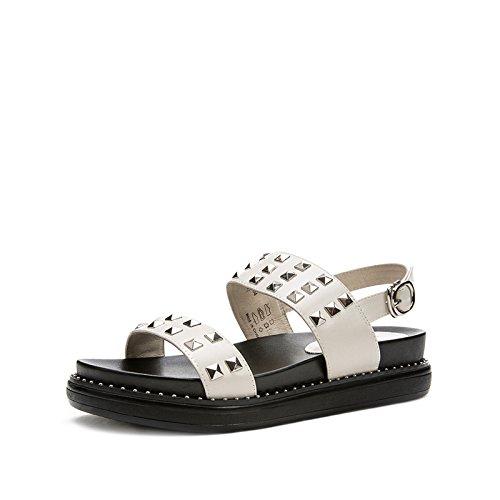Tacchi tacco DHG con 37 basso Sandali Sandali piatti Sandali estivi donna tacco a moda basso alti Pantofole da bianca casual alla 4T47Pwqr