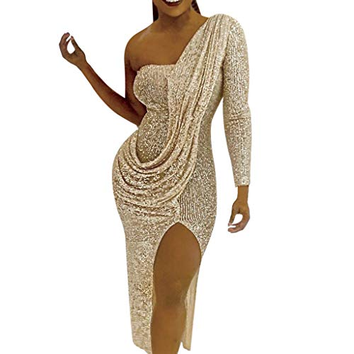 NEWONESUN Women's Sequin Glitter One Shoulder Bodycon Long Sleeve Backless Slit Midi Prom Gown Dress Cocktail (Prom Gown Slim)