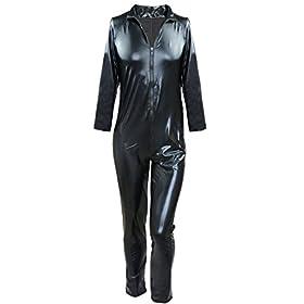 - 41cp cBqidL - iEFiEL Men Women Wet Look PVC Leather Long Sleeves Catsuit Bodysuits