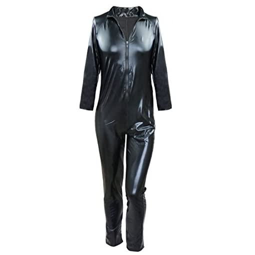 Yizyif Mens Sexy Wet Look Pvc Leather Long Sleeves Catsuit Bodysuits Large Black