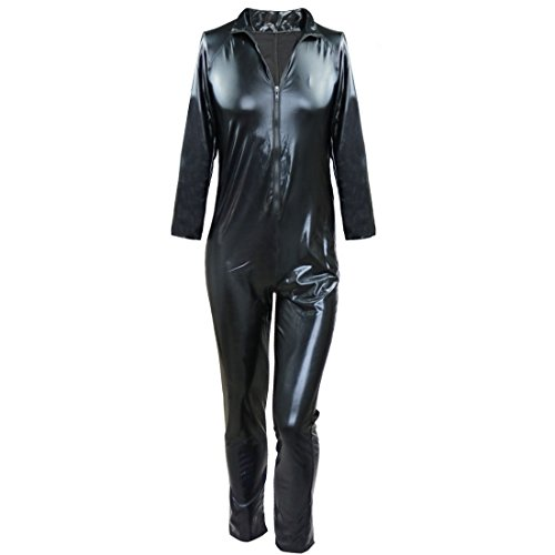 [iiniim Mens Black Patent Leather Front Zipper Catsuit Bodysuit Clubwear Costume Black M] (Black Bodysuit Costume)