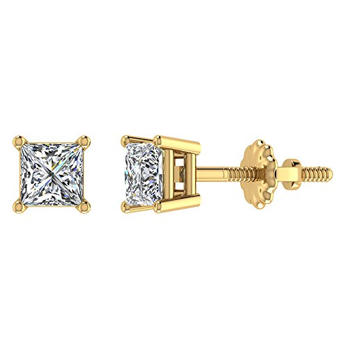 1-2-ct-tw-i-i1-natural-princess-cut-diamond-stud-earrings-14k-yellow-gold-screw-back