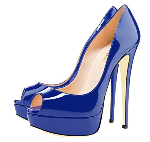 Guoar Womens Multicolor Stiletto Big Size Tacchi Alti Peep Toe Piattaforma Pompe Brevetto Per Abito Da Sposa Blu Royal Brevetto