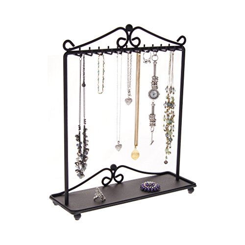 Necklace Holder Stand Jewelry Organizer Hanging Necklace Tree Bracelet Storage Rack Display, Calla Black by Angelynn's Jewelry Organizers