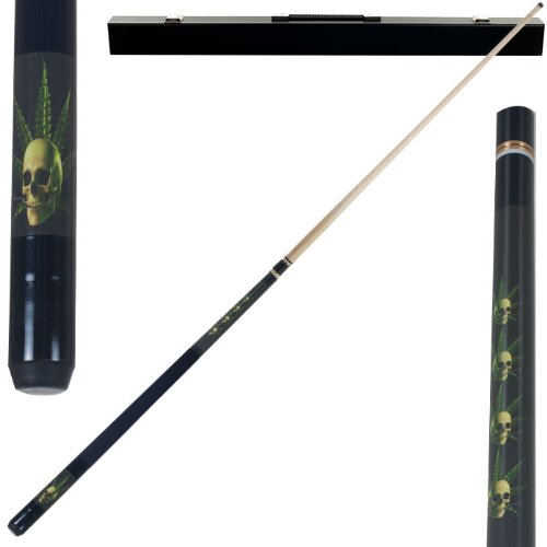 2 Piece Hardwood Pot Skull Design Pool Stick Cue - With Carrying Case!