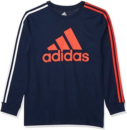 adidas Boys' Long Sleeve Cotton Jersey T-Shirt Tee