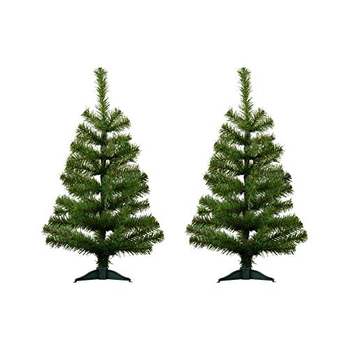 Harbour Housewares 2ft Artificial Christmas Tree with Stand - Green - Pack of 2