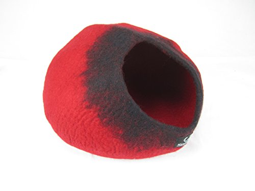 Walking Palm Felted Wool Cat Cave Bed Red and Black