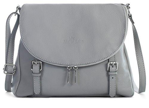 Shoulder Tuscan Grey Stella Medium Effect Italian Genuine Light Leather Handbag Liatalia Body Buckle Soft Cross qBnavwWE1
