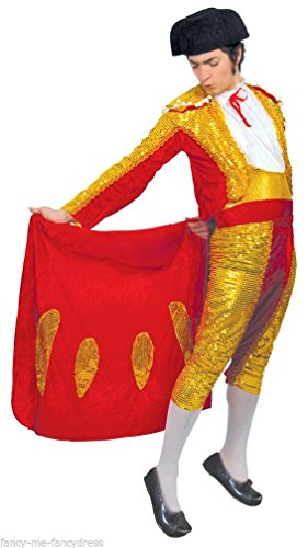 Mens Red Gold Sequinned Matador Spanish Bull Fighter Around The World Festival Stag Do Night Fancy Dress Costume Outfit (Medium)]()