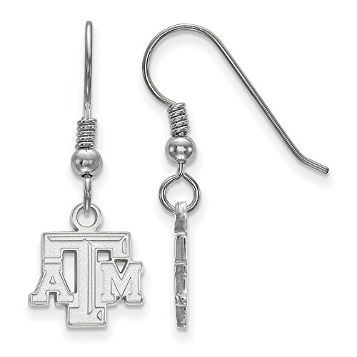 925 Sterling Silver Officially Licensed Texas A&M University College Mini Small Dangle Wire Earrings (10 mm x 11 mm) by Mia's Collection