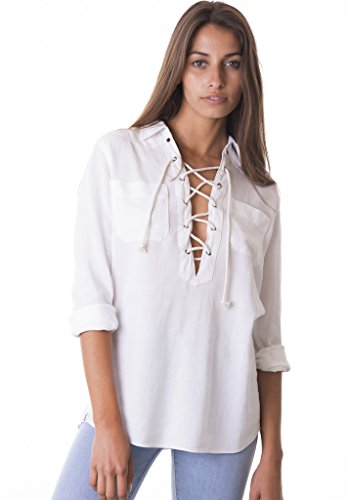 CAMIXA Women's Sexy Deep V Neck Lace up Linen Casual Collar Shirt Top Go Boho L White - Linen Blend Shirt Top