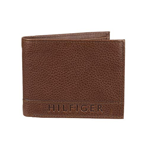 Tommy Hilfiger Men's Leather Wallet - RFID Blocking Slim Thin Bifold with Removable Card Holder and Gift Box, Brown Casual