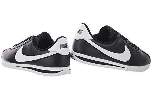 best website 01b46 51125 Nike Mens Cortez Basic Leather Black/White/Metallic Silver Casual Shoe (9.5  D(M) US)