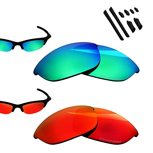 - BlazerBuck Anti-salt Polarized Replacement Lenses for Oakley Half Jacket - Fire Red & Emerald Green