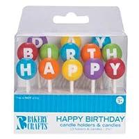 Oasis Supply Colorful Round Balloon Cake Decoration Feliz cumpleaños Carta Candelabros con velas, 2.5 pulgadas