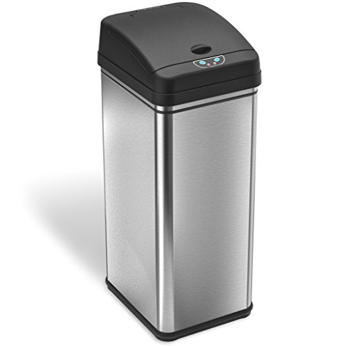 iTouchless 13 Gallon Stainless Steel Automatic Trash Can with Odor Control System, Big Lid Opening Sensor Touchless Kitchen Trash Bin ( Base Version - No AC Adapter )