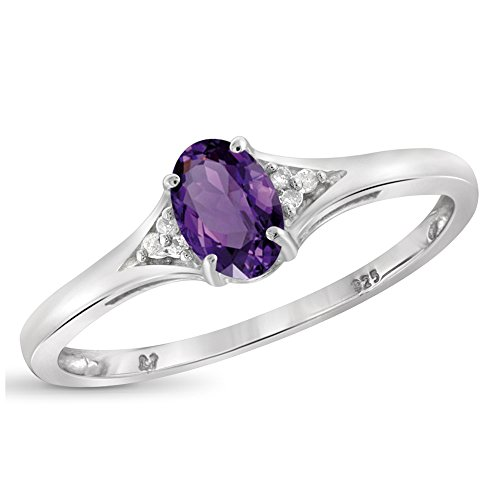 1/2 Carat T.G.W. Amethyst And White Diamond Accent Sterling Silver Ring Size-8