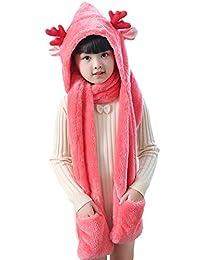 Animal Fleece Hats Gloves Scarf 3 In 1 Set Winter Cap Baby Earflap Hood Scarf for Kids Toddler Boys Girls