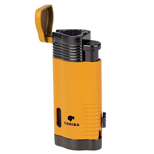COHIBA Windproof Lighter Gas Lighter Cigarette Lighter Torch Lighter Jet Blue Triple Flame Refillable Inflatable Cigar Lighter D0351 by KAWAICAT