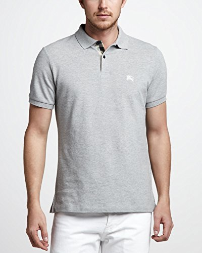 Burberry Brit Men's Gray Check Cotton Pique Logo Slim Fit Polo T-shirt (L)