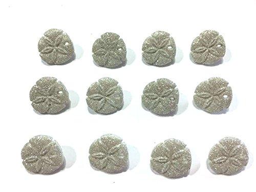 (Glitter Sand Dollar Seashells Buttons Set of 12 Shank Back 427)