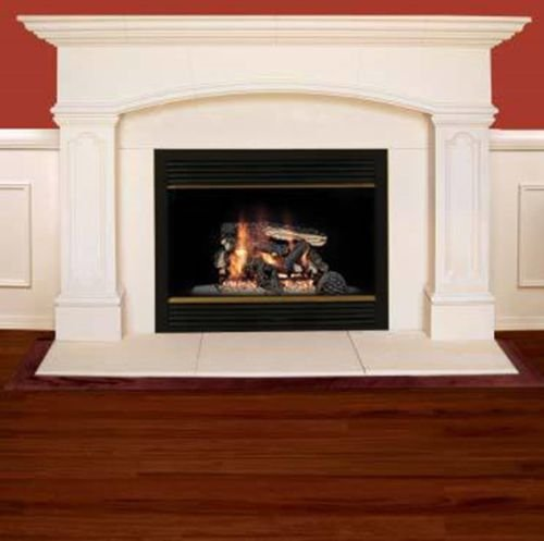 Abington Cast Stone Mantel with Insert and 3 Piece Hearth -