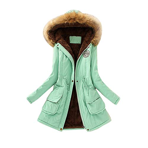 (Realdo Women Coat Inner Plush, Women Fur Collar Hooded Jacket Slim Winter Parka)