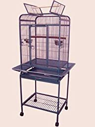 Pet Products Wrought Iron Select Bird Cage Black Hammertone Parrot Bird Play Top With Removable Metal Seed Guard 0537 Black Vein
