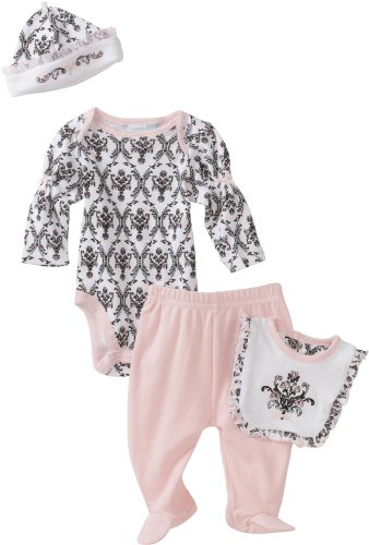 Vitamins Baby Girl Newborn Damask Print Four-Piece Creeper Pant Set