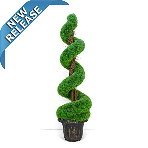 AMERIQUE Gorgeous 5 Feet Wide and Dense Boxwood Spiral Topiary Artificial Tree Silk Plant with UV Protection with Decorative Pot, Feel Real Technology, Super Quality, 5' Green