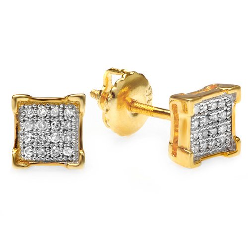 0.10 Carat (ctw) 18k Yellow Gold Plated Sterling Silver Round Diamond V-Prong Square Mens Hip Hop Iced Stud (Diamond Stud Square Earrings)