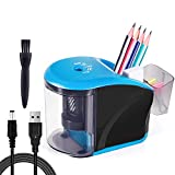 INVOKER Electric Pencil Sharpener Heavy Duty Helical Steel Blade to Fast Sharpen, Battery Operated Auto Stop Pencil Sharpener for Colored/Primary Pencils & Artist School Classroom Office