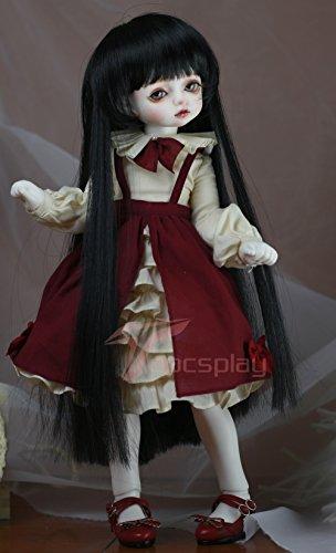 7-8 Inch 1/4 BJD Wig DOD Dollfie Doll Wig Not for Human Long Black Hair 13