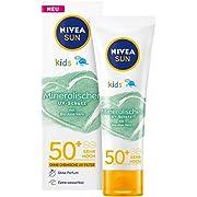 NIVEA SUN Kids 100% Mineralischer Schutz Lotion LFS 50+ (50 ml), extra wasserfeste Kinder Sonnencreme, Sonnenlotion für…