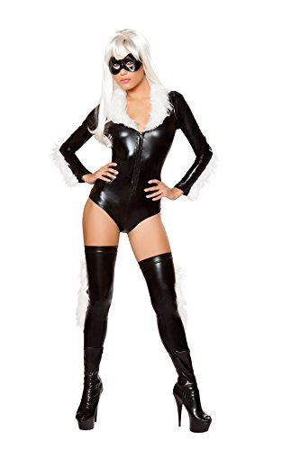 Roma Costume Black Latex Catwoman Costume Bodysuit (Latex Catwoman Suit)
