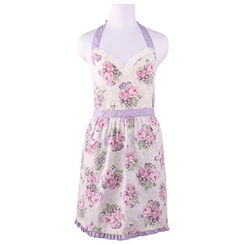 Neoviva Cotton Kitchen Apron with Lace Decorated, Floral Violet Roses