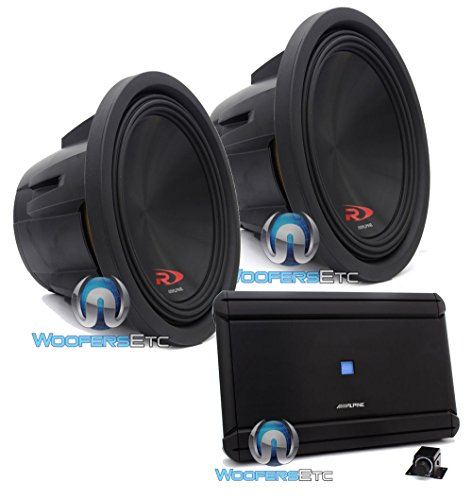 "pkg Pair of Alpine SWR-12D2 12"" Dual 2-Ohm Type-R Series Subwoofers and Alpine MRV-M1200 Monoblock 1200W RMS Class D Amplifier"