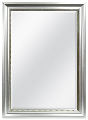 MCS 24x36 Inch Beaded Rectangular Wall Mirror, 30.25x42.25 Inch Overall Size, Silver (20454) - Rectangular Bathroom Wall