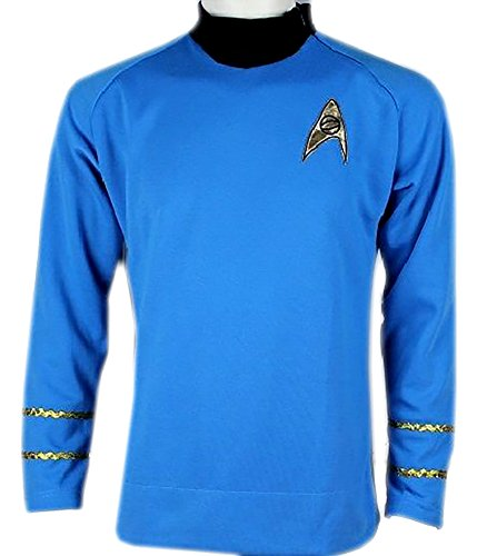 Star Trek Captain Kirk Spock Classic Shirt Costume Uniform TOS (XL, Blue)