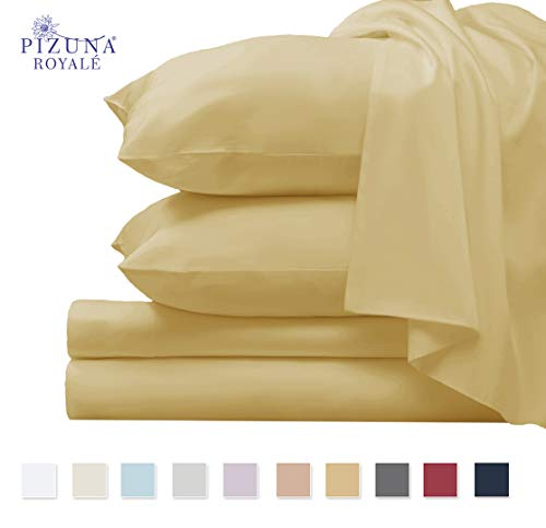 Pizuna 1000 Thread Count Sheet Set, 100% Long Staple Pure Cotton Gold King Sheets, Luxurious Smooth Sateen Weave Breathable Sheets fit Upto 15 inch Deep Pockets (Wheat King 100% Cotton Sheet Set)