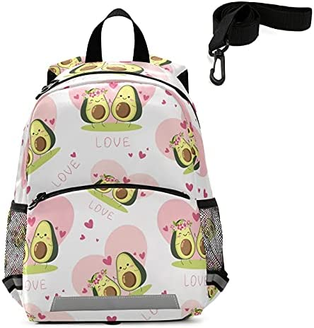 Happy Valentines Day Toddler Backpack Kids Cute Avocado Lovers Kindergarten Schoolbag Preschool Nursery Travel Bag with Safety Leash Harness for Baby Boys Girls 3-8 Years