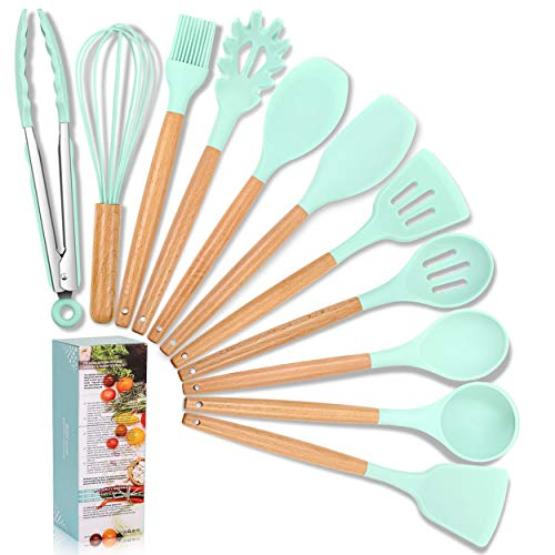 Versatile Silicon Kitchen Utensils Set, ZT_YIMO 11-piece Nontoxic Cooking Utensils with Wooden Handle for Nonstick Cookware, Kitchen Gadget Set, Cooking Tool Gift – Sea Foam Green