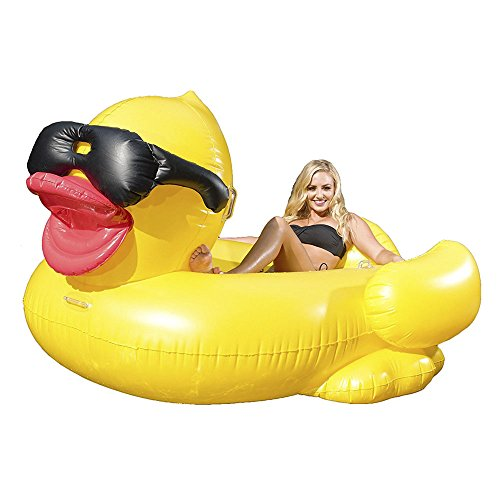GAME Derby Duck Inflatable Swimming Pool Float with Cup Holders and Handles For Kids & Adults (Floaty Floatie Funflatable) (Pool Float With Cup Holder)