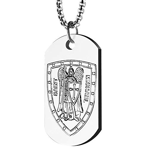 (St. Michael Necklace for Men | Sterling Silver-Plated 1.6 Ounce  Dog Tag Pendant with 24 Inch Box Chain Necklace | St. Michael the Archangel Prayer Engraved on Back)