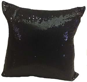 Decorative Sequins Throw Pillow 17x17'' Black