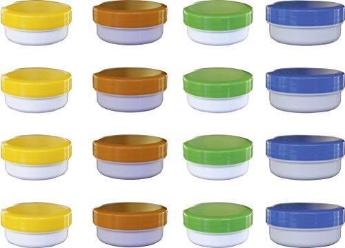 16 Salbendöschen, Cremedöschen, Salbenkruke flach, 12ml Inhalt mit farbigen Deckeln - MADE IN GERMANY