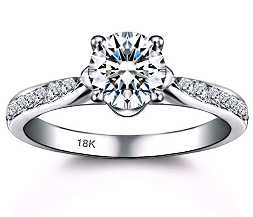 14k White Gold Crown - AndreAngel Engagement Wedding Ring Bridal Marriage Promise Proposal Women White Gold 18K Carat Cubic Zirconia Lab Diamond AAAAA Stone Pave Statement Princess Cut Solitaire Vintage Valentine's Size 6