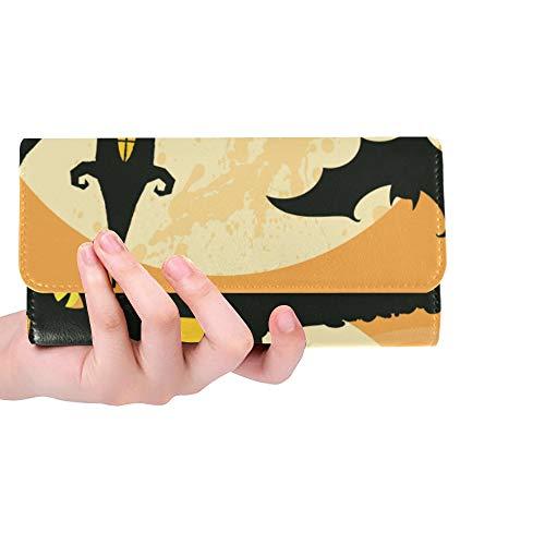 - Unique Custom Halloween Full Moon Bat Monster Eyes Castle Women Trifold Wallet Long Purse Credit Card Holder Case Handbag