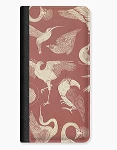 Birds on Brown Design iPhone 5/5s Leather Flip Case